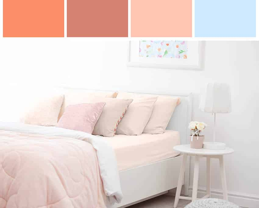 Bedroom interior design using color wheel palette