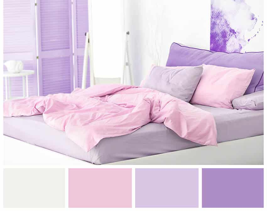 Lilac color wheel bedroom with complementary colors