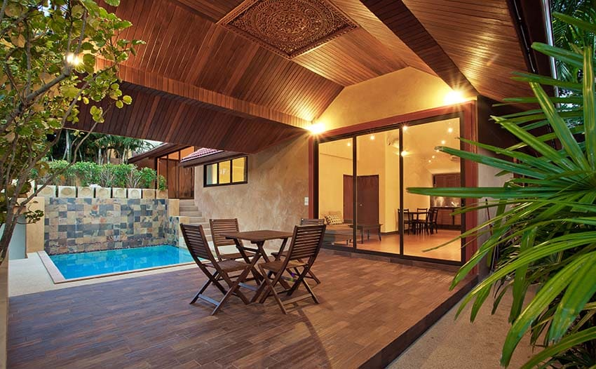 Gabled veranda with wood pool deck