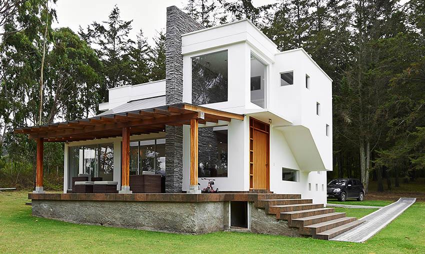 Pergola style veranda attached to modern house