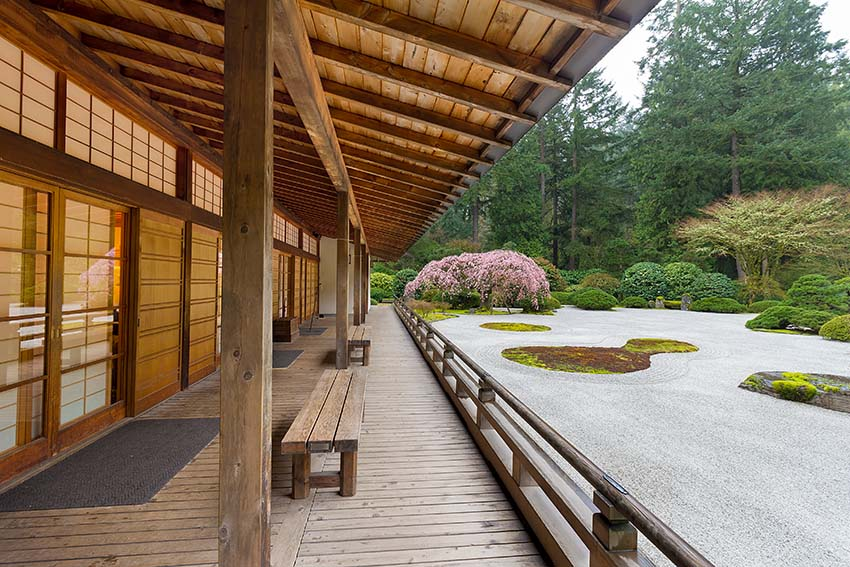 Veranda overlooking asian style garden