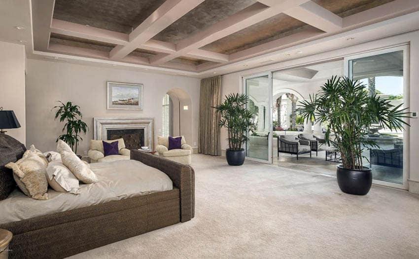 Bedroom with textured beige carpet