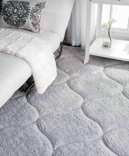 Plush pile rug in bedroom