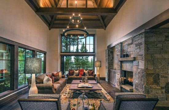 rustic modern living room stone fireplace | Rustic Living Room Ideas - Designing Idea