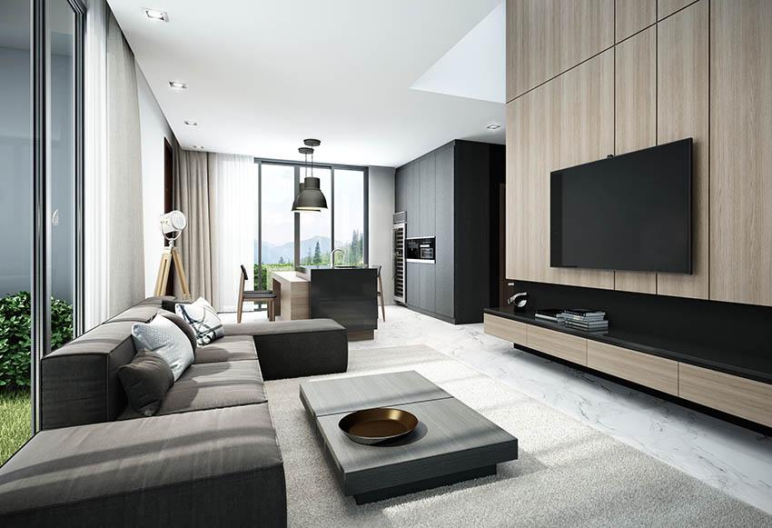 Modern masculine living room with wood veneer dark sofa