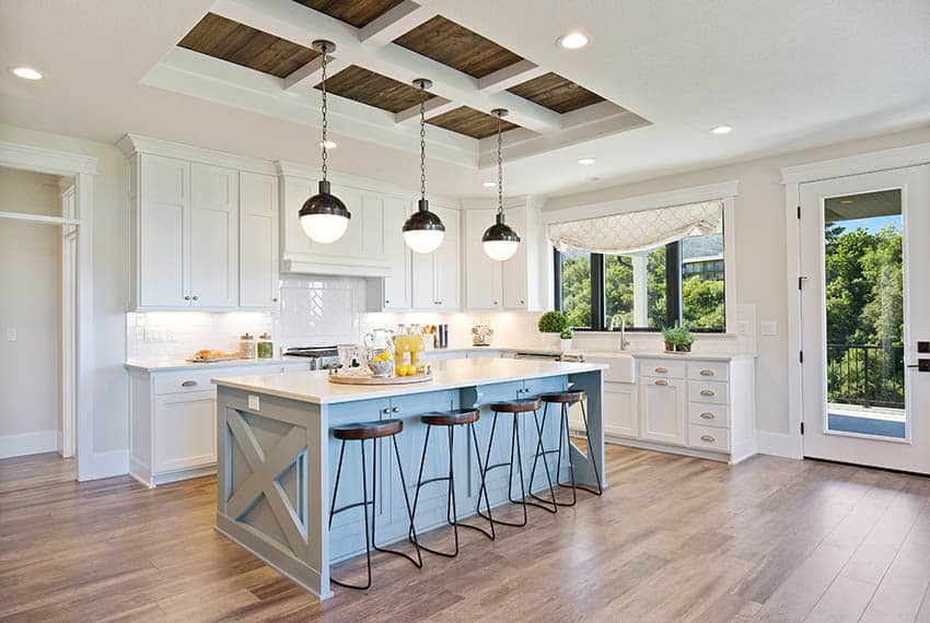 Contemporary kitchen with arctic white quartz countertops, veneer cabinets and engineered wood floors