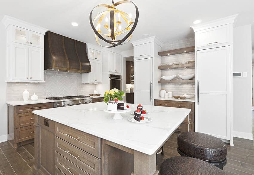 Contemporary kitchen with quartz countertops solid wood base cabinets white upper cabinets glass tile backsplash
