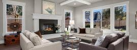 contemporary-living-room-with-gray-paint-box-ceiling-with-white-trim-and-maple-wood-floors
