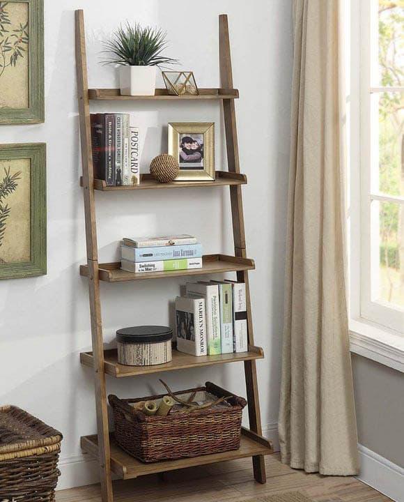 Wood ladder shelf unit