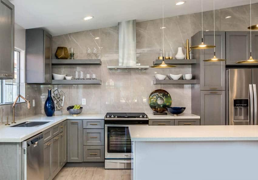Contemporary kitchen with l shape design island marble wall backsplash