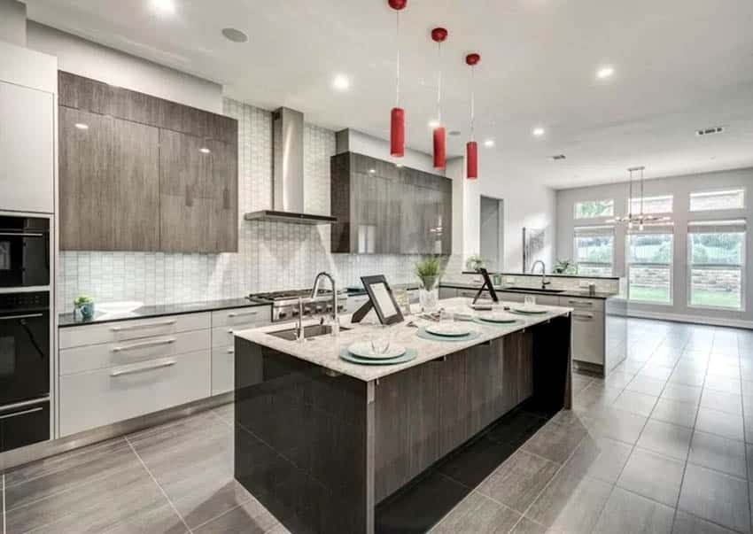Contemporary l shaped kitchen with island and peninsula breakfast bar
