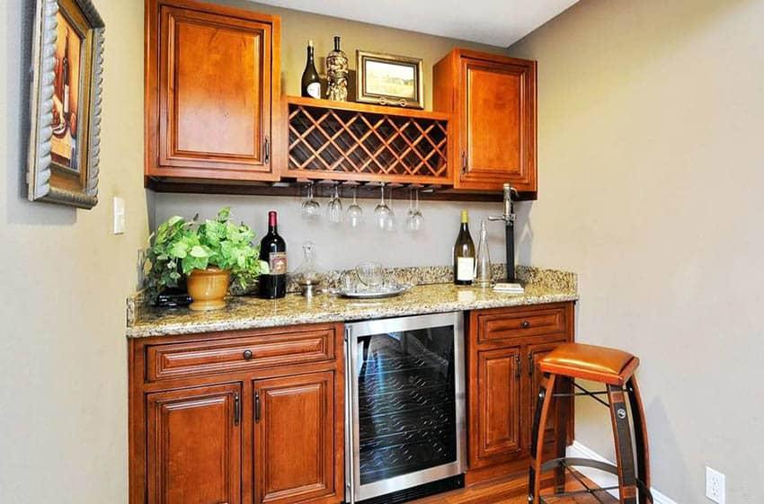 Custom home wine bar with fridge and wine rack