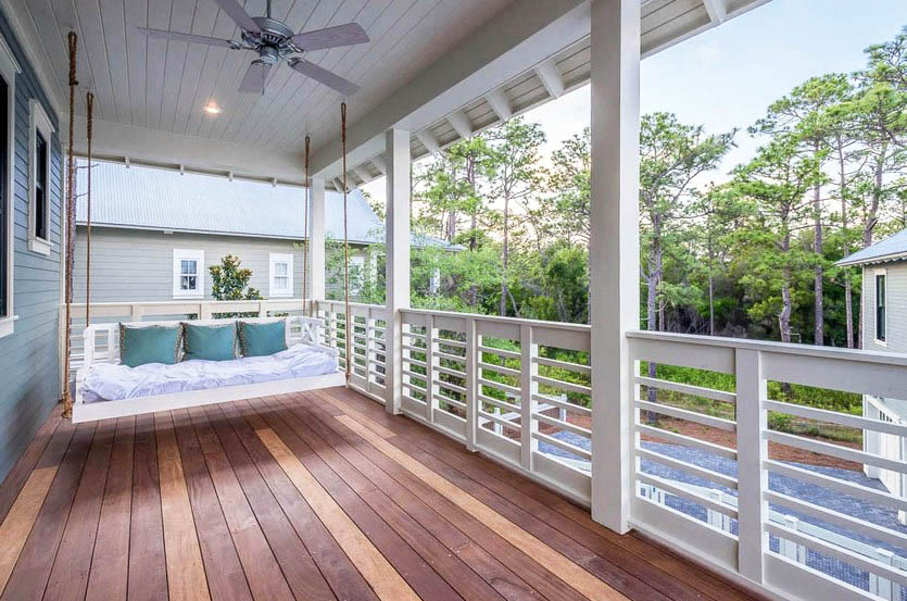 House porch deck with swinging love seat bench