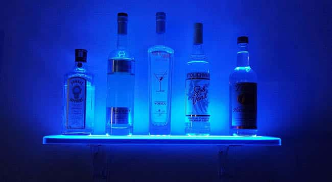 LED home bar shelving with mood light