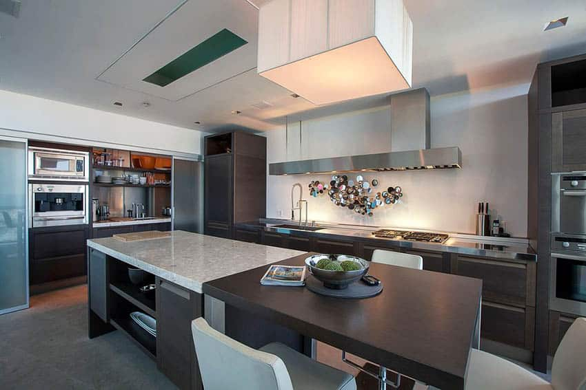 Modern kitchen with l shape and rectangular island with two types of countertops