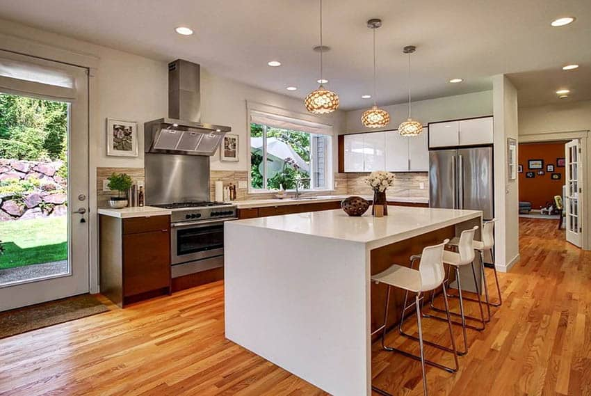 Modern kitchen with l shaped design brown and white cabinets