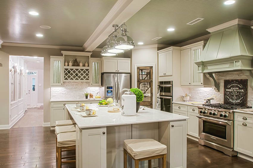Traditional kitchen with l shaped design large island arctic white quartz beadboard ceiling panels