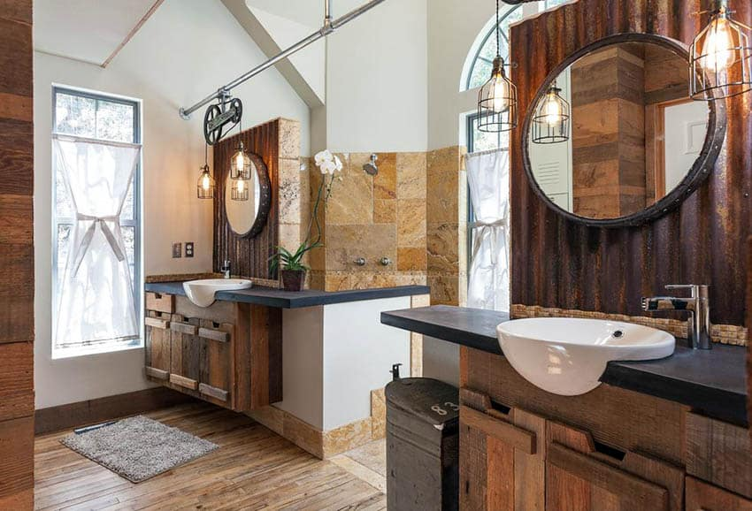 Bathroom with slate vanity countertops