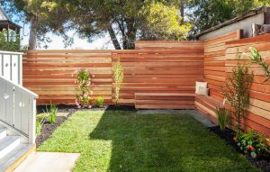 contemporary-privacy-fence-with-horizontal-design-and-wood-bench