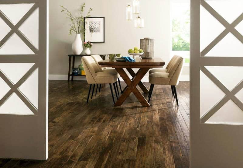 Hickory hand scraped hardwood flooring in dining room