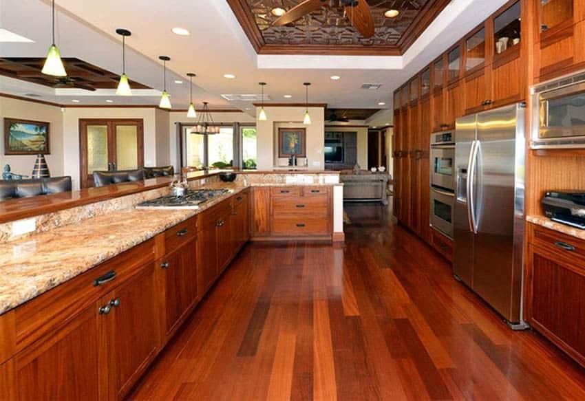 Kitchen with handscraped mahogany flooring