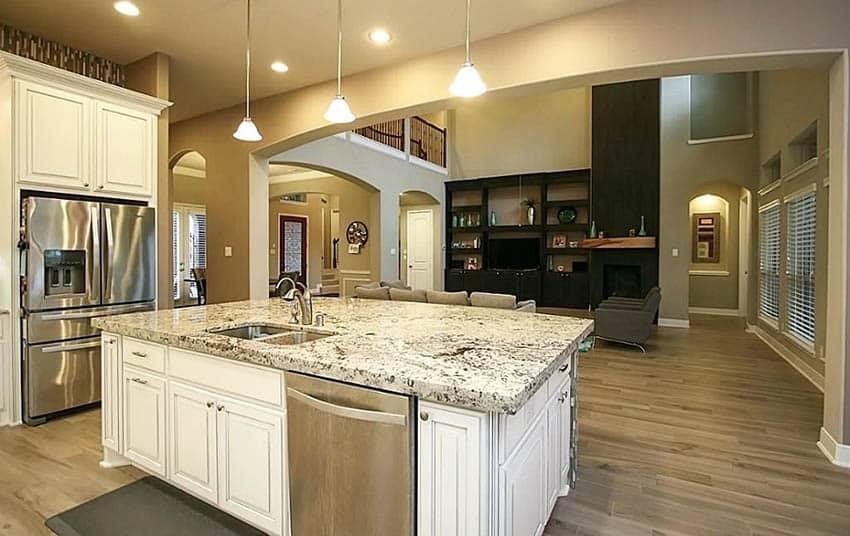 Kitchen with maple hardwood flooring