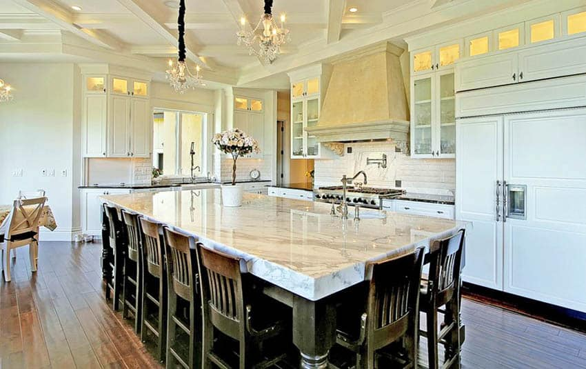 Marble kitchen with acacia hand scraped flooring