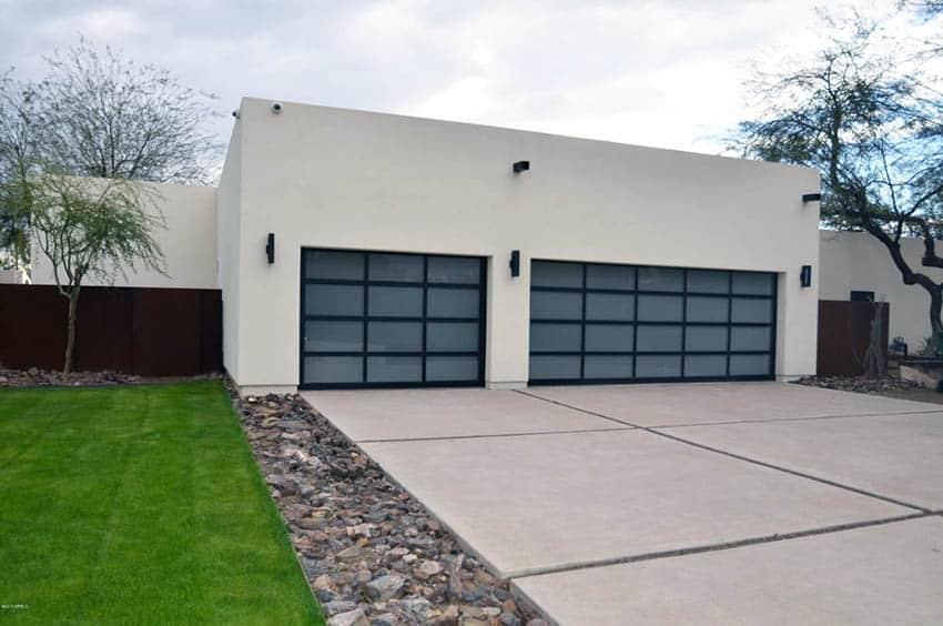 Concrete driveway at modern house