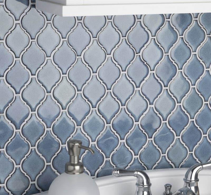 Blue porcelain arabesque tile