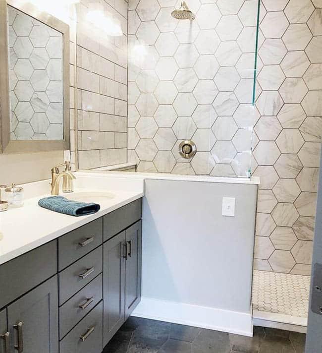 Hexagon tile in bathroom shower