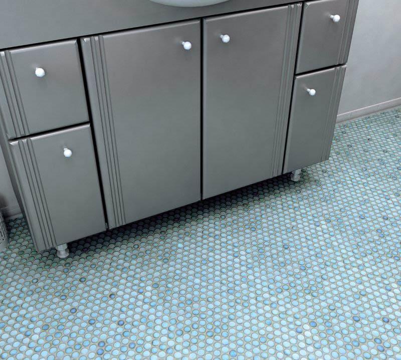 Porcelain penny tile on bathroom floor