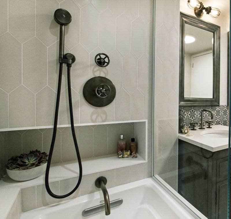 Porcelain picket tile in bathroom