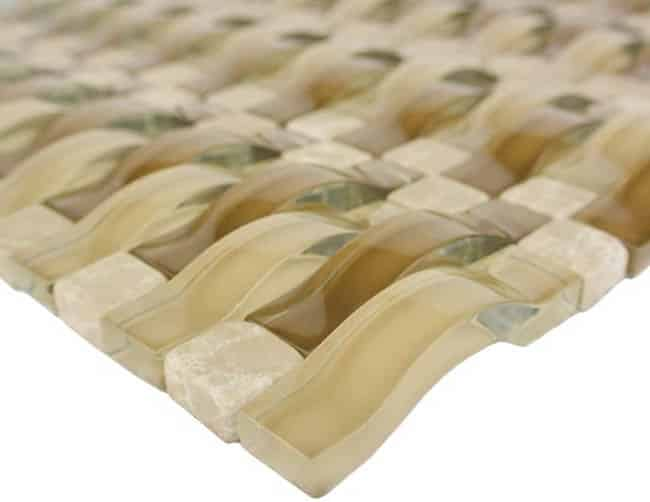 Wave tile glass mosaic