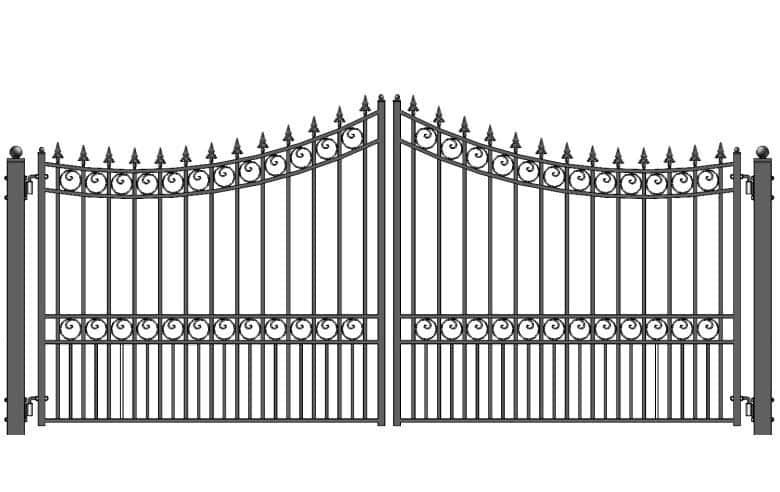Double swing driveway gate