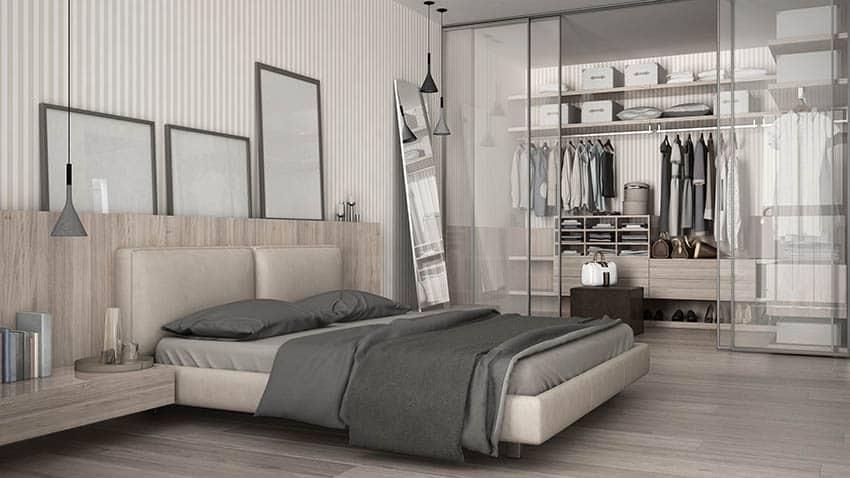 Modern bedroom with glass door closet