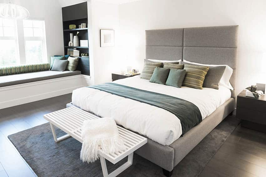 Modern bedroom design with comfy pillows fabric headboard window seat
