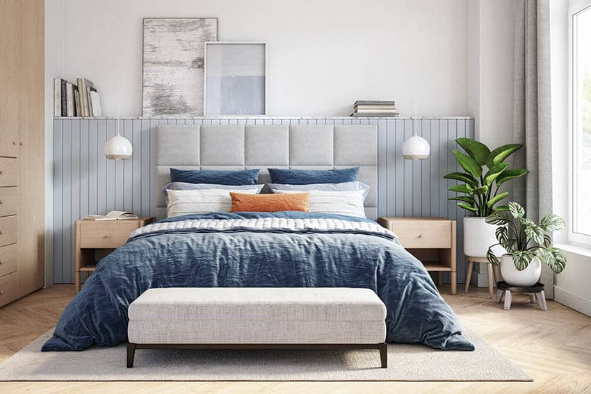 Scandinavian bedroom with bed pillows