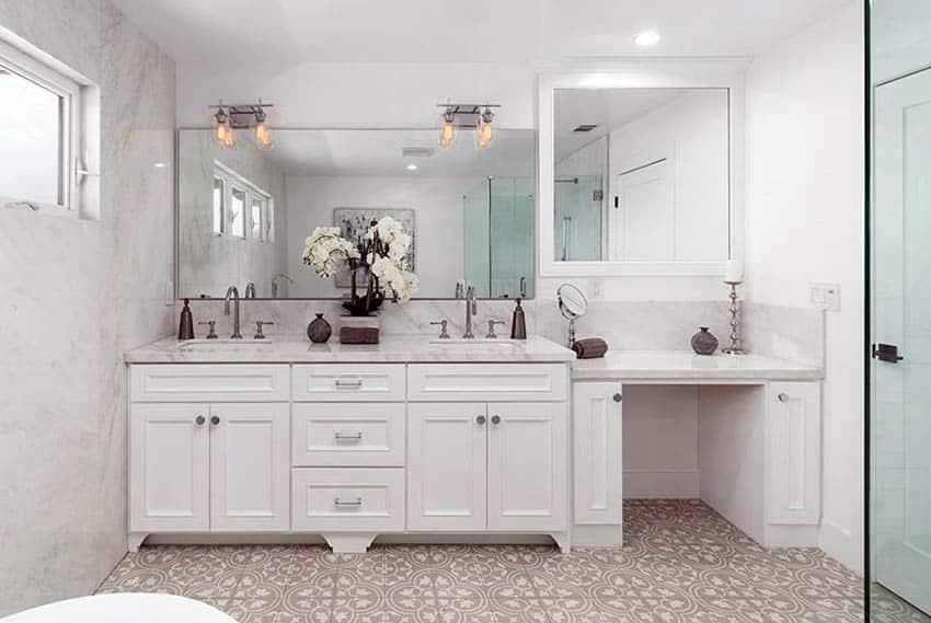 custom-bathroom-with-dual-sink-faucet-vanity-marble-walls-and-pattern-ceramic-floor-tile