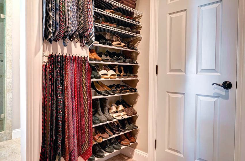 Hallway closet shoe rack