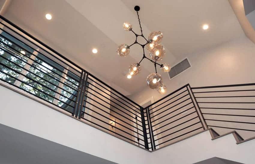 Modern metal railing and light fixture