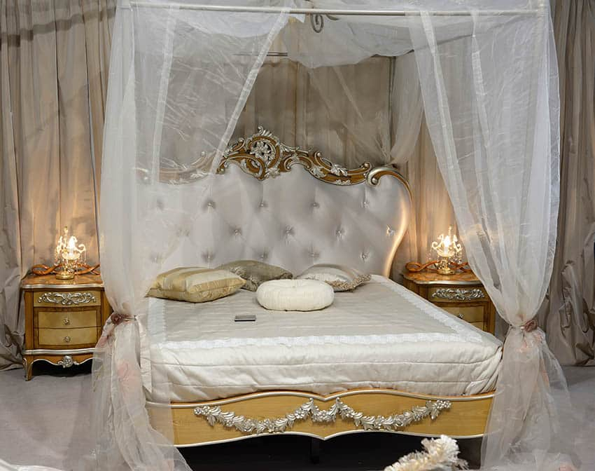 Luxury baroque style girls bedroom with sheer curtain, gold vanities and tufted bed