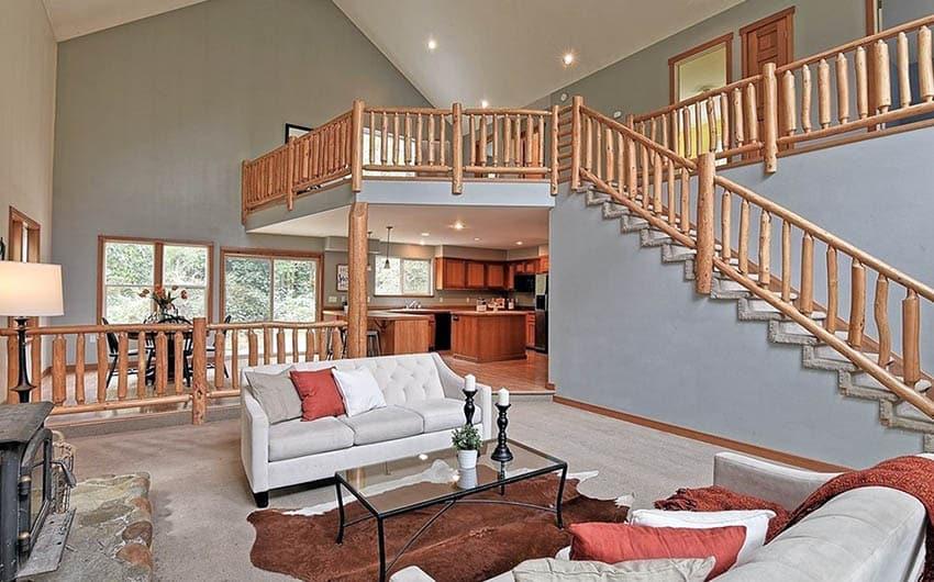 Rustic wood stair railing
