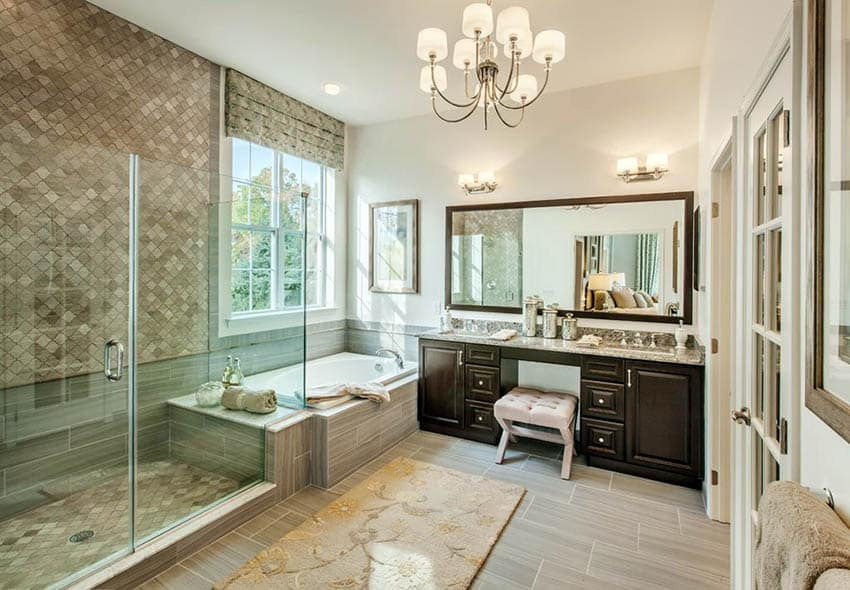 Traditional master bathroom with porcelain tile flooring and stone shower