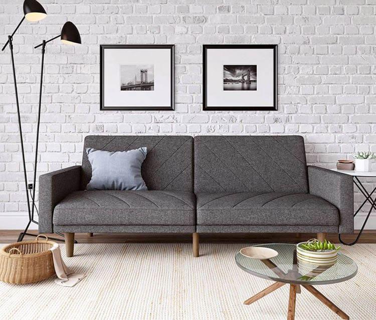 Gray linen sofa