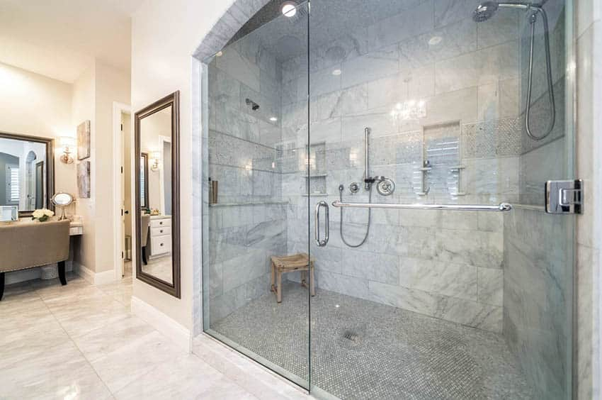 Large shower with portable wood bench