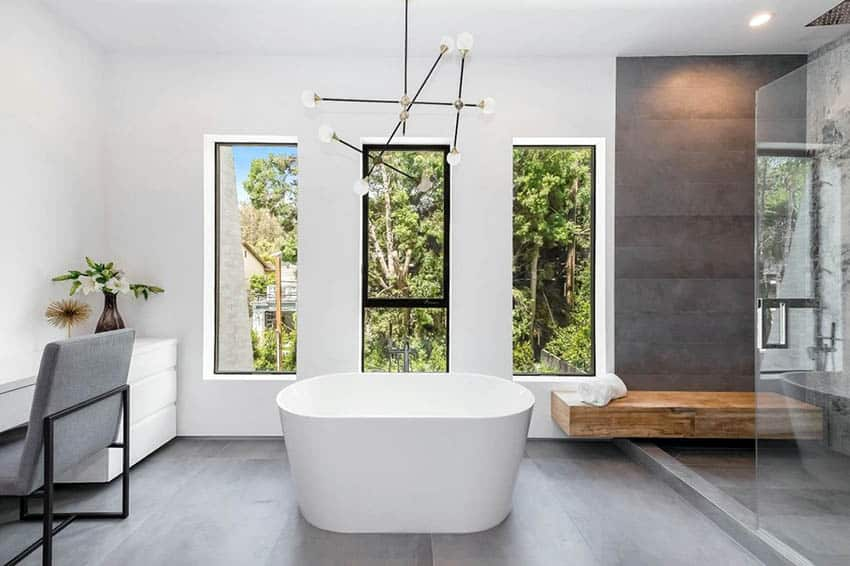 Modern bathroom shower with built in wood bench