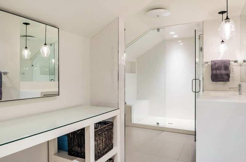 Modern bathroom with tile shower bench