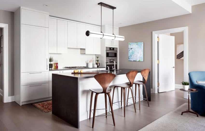 Modern kitchen with white cabinets dark quartz countertops