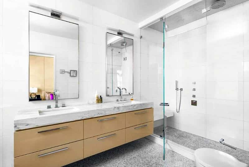 Modern shower with bench and floating vanity