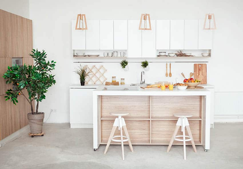 Organized modern kitchen with open shelving